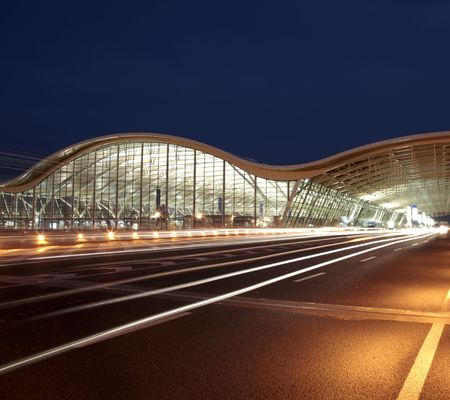 pudong: the night view of the pudong airport. Stock Photo