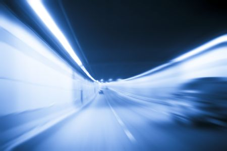 view from a car.speed going in a tunnel inside. Stock Photo - 6087865