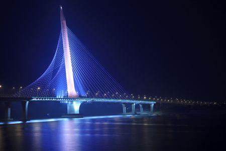 the night view of the bridge nanchang jiangxi china. Stock Photo - 6088303