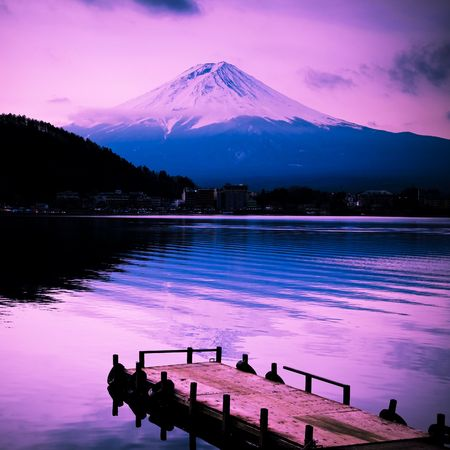 japan sky: mount fuji in the sunset wiht lake front in japan. Stock Photo