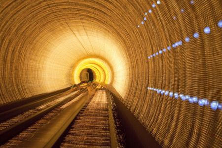 subway train speeding through a tunnel shanghai china. Stock Photo - 6179557