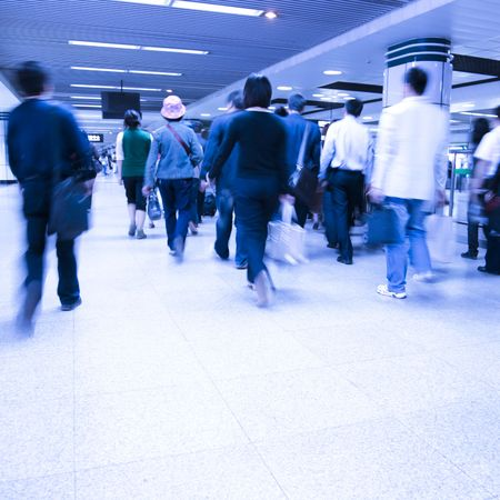 passenger in the shanghai pudong airport.interior of the airport. Stock Photo - 6179554