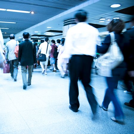 blur subway: passenger in the shanghai pudong airport.interior of the airport. Editorial