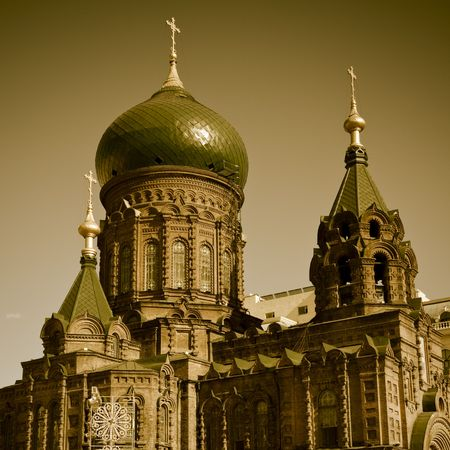 the part of the  Holy Sophia cathedral on the cloudy background outdoor. photo