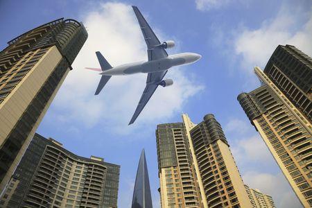 air freight: the modern building in shanghai.