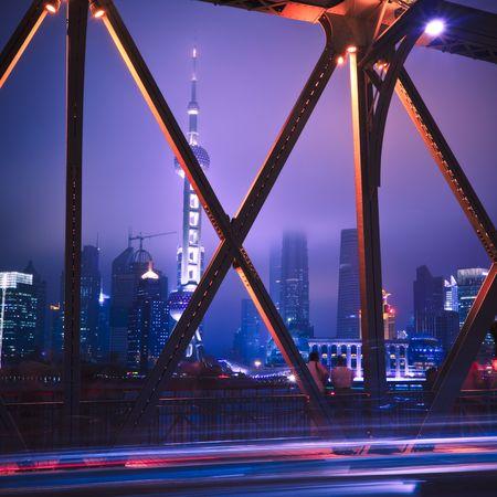 footing: Night traffic lights inside of the Garden Bridge of shanghai china. Stock Photo