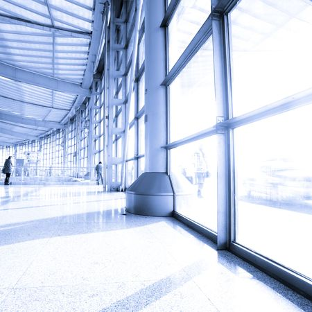 pudong: passenger in the shanghai pudong airport.interior of the airport. Stock Photo