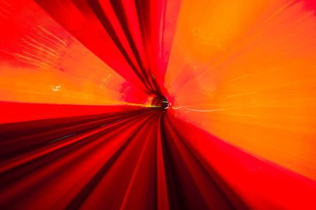subway train speeding through a tunnel shanghai china. Stock Photo - 6494508