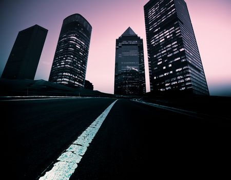 the abstract background of the road and city . Stock Photo - 6494669