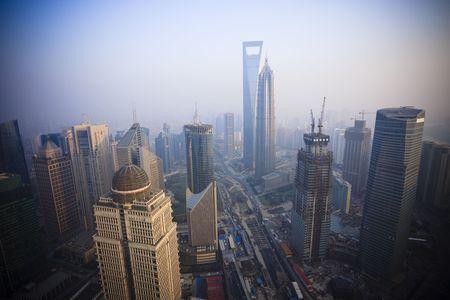 birds eye: Birds eye view of Shanghai Pudong . Stock Photo