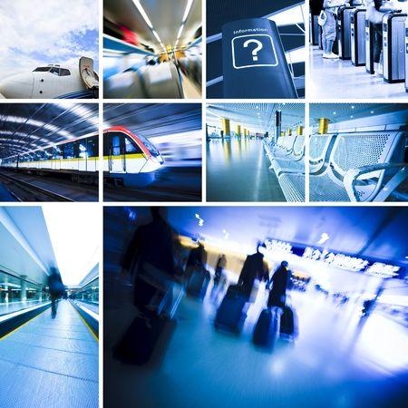 gente aeropuerto: antecedentes de viajes de negocios acerca de tren y avi�n, el concepto acerca de pasajeros viajando.