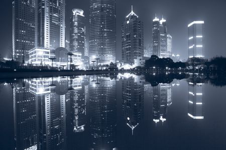 the night view of the lujiazui financial centre in shanghai china. Stock Photo