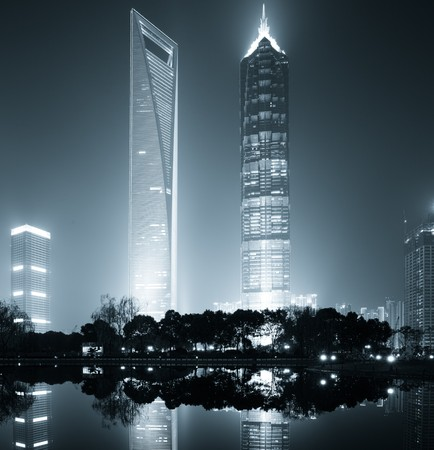 the night view of the lujiazui financial centre in shanghai china. 에디토리얼