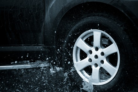 suv splash on the river outdoor ,traveling on the road. Stock Photo - 6999631