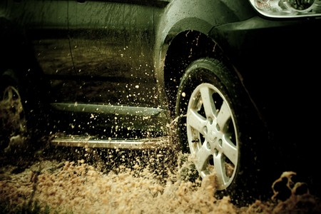 suv splash on the river outdoor ,traveling on the road. Stock Photo - 6999898