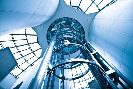 futuristic elevator in the modern building at shanghai china. Stock Photo