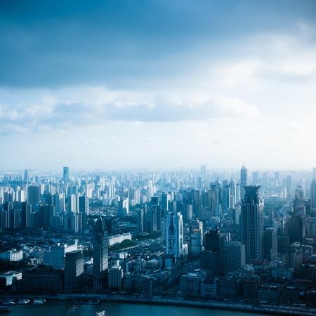 metropolitan: view from the Oriental Pearl TV Tower.shanghai lujiazui financial center aside the huangpu river.