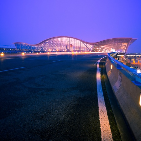 shanghai pudong skyline: night scene of Shanghais Pudong International Airport Terminal t2.