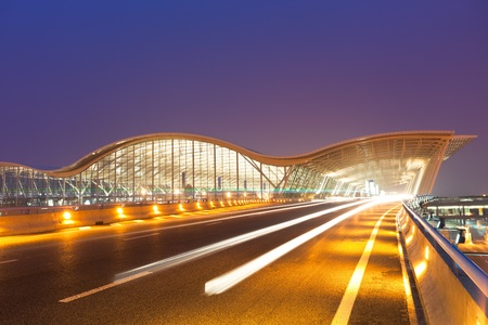 night scene of Shanghais Pudong International Airport Terminal t2.