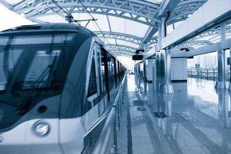 Modern Architecture light Rail Station in shanghai China.
