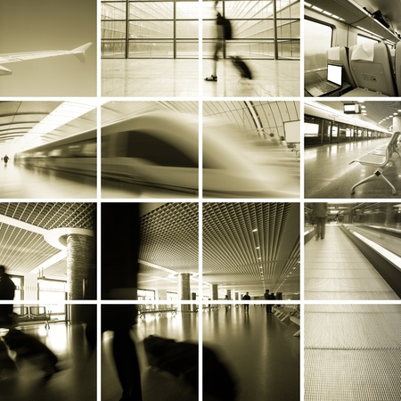Business Travel Photo Collection,scene of the subway station and airport . photo