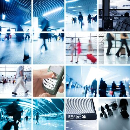 gente aeropuerto: Negocio colecci�n de fotos de viajes, escena de la estaci�n de metro y el aeropuerto.