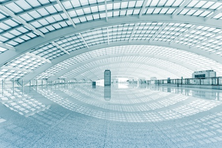 subway: modern hall of subway station  at T3 airport in beijing china.