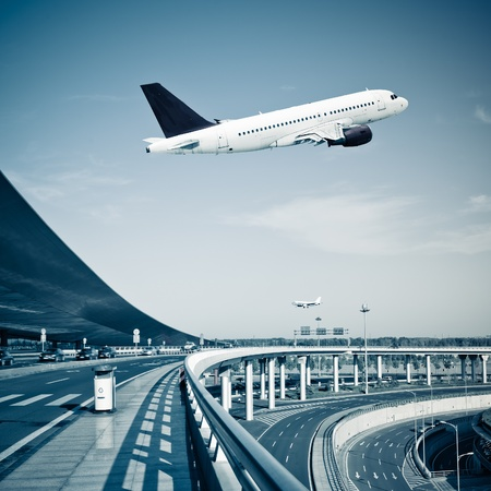 the scene of  T3 airport building in beijing china.