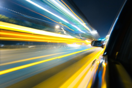 blur: View from Side of Car Going Around Corner, Blurred Motion Stock Photo