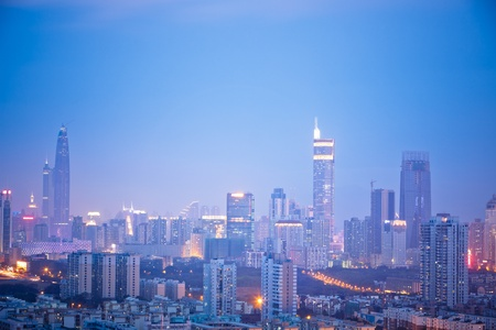 skyline of shenzhen china at night. photo