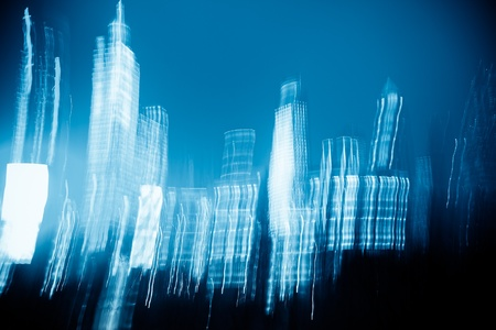 the abstract night view of the modernbuilding. Stock Photo - 15061263