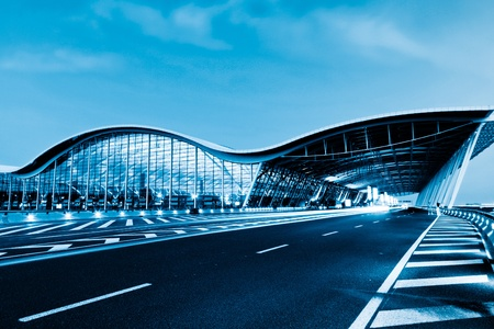 airport lounge: the night view of the pudong airport. Editorial