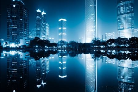 the night view of the lujiazui financial centre in shanghai china. Standard-Bild