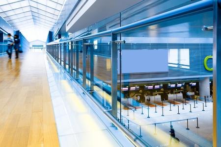 walkway of the shanghai airport,interior of the modern building Standard-Bild