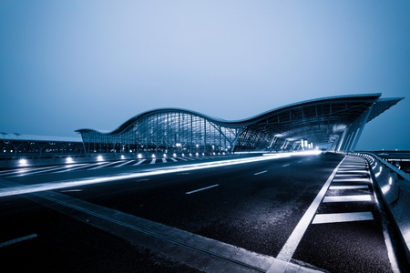pudong: night scene of Shanghais Pudong International Airport Terminal t2.