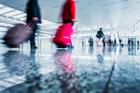 passenger in the shanghai pudong airport.interior of the airport. Stock Photo