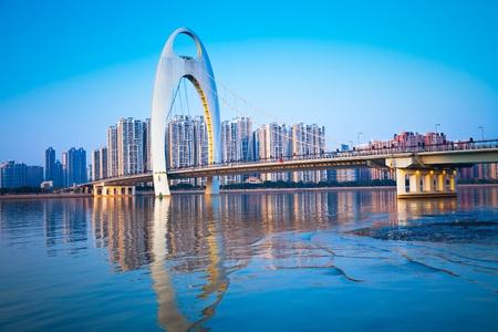 seaports: Zhujiang River and modern building of financial district in guangzhou china. Stock Photo