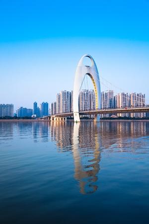 Zhujiang River and modern building offinancial district in guangzhou china.