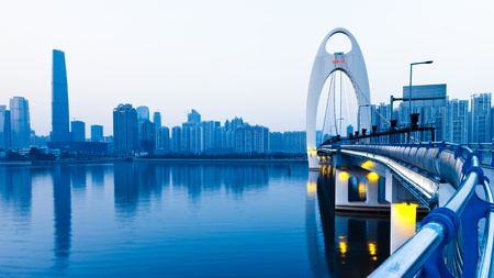 Zhujiang River and modern building of financial district in guangzhou china. Zdjęcie Seryjne