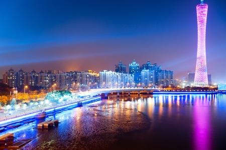 guangzhou: Zhujiang River and modern building of financial district at night in guangzhou china. Stock Photo