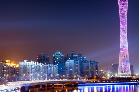 Zhujiang River and modern building of financial district at night in guangzhou china. photo