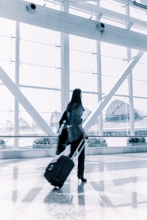 passenger in the shanghai pudong airport.interior of the airport. photo
