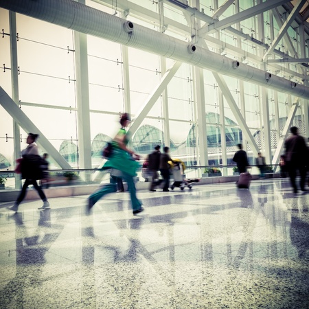 passenger in the shanghai pudong airport.interior of the airport. 에디토리얼