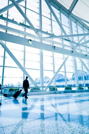 airport window: passenger in the shanghai pudong airport.interior of the airport. Stock Photo