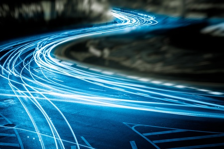 the light trails on the steet in shanghai china. Stock Photo