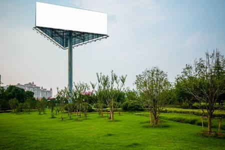 empty billboard on the sky background oudoor. photo