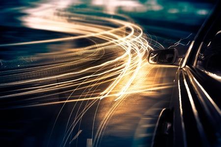 View from Side of Car Going Around Corner, Blurred Motion Standard-Bild