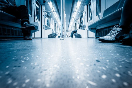 background of the rushing subway train,empty interior of the train.