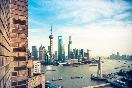 Oriental Pearl Tower and Shanghai World Financial Center (SWFC) & Jin Mao Tower with shanghai skyline. Stock Photo