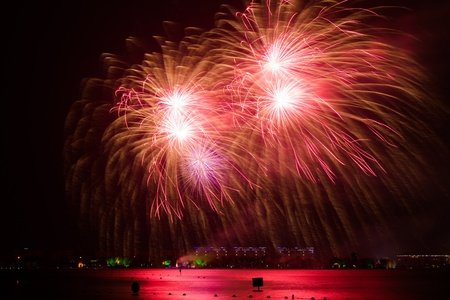 panoply: Cluster of colorful Fourth of July fireworks. Stock Photo